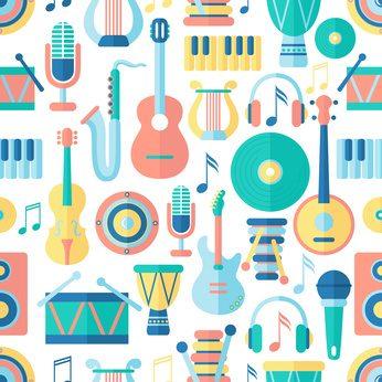 Seamless musical pattern. Flat style